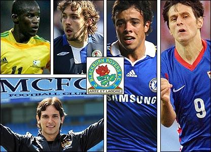 Clockwise from top left: Elrio van Heerden; Gael Givet; Franco di Santo; Nikola Kalinic; departed striker Roque Santa Cruz