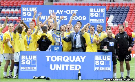 Torquay celebrate winning the Blue Square Premier play-off title