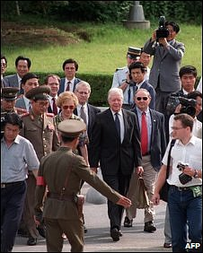 North Korean border guards with Jimmy Carter (C) and wife Rosalynn on June 18, 1994