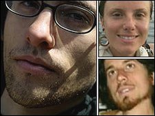 Shane Bauer (left), Sarah Shourd (top right) and Joshua Fattal (bottom right)