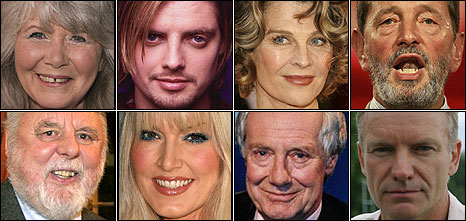 Clockwise from top left: Jilly Cooper, Keith Duffy, Julie Christie, David Blunkett, Sting, Barry Norman, Emma Noble and Terry Waite