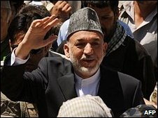 Incumbent President Hamid Karzai campaigning in Kaihan valley, central Afghanistan
