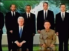 Bill Clinton and Kim Jong-il on North Korean TV