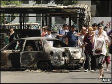 Burned out bus in Urumqi, China 6/7/09