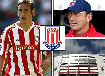 Left: Dean Whitehead; top right: Tony Pulis; bottom right: The Britannia Stadium