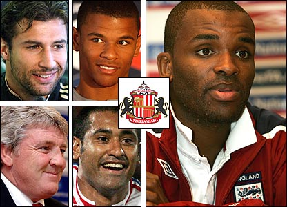 Clockwise from top left: Lorik Cana; Fraizer Campbell; Darren Bent; Paulo da Silva; boss Steve Bruce
