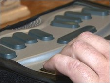 Braille computer used by DeafBlind Communicator