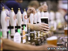 Beer being served at the Great British Beer Festival