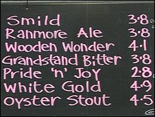 Board showing alcohol content of beers
