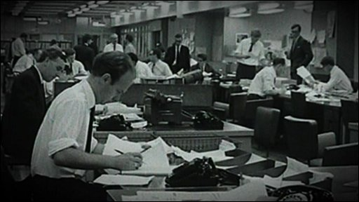Archive footage of the newsroom