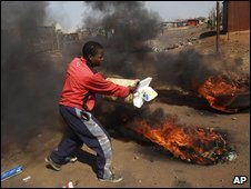 A protester in a township outside Johannesburg