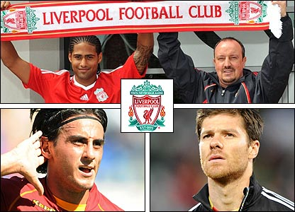 Clockwise from top left: Glen Johnson signs for Rafa Benitez; the departed Xabi Alonso; Alberto Aquilani