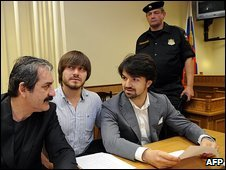 Murder suspect Dzhabrail Makhmudov (second left) with lawyers