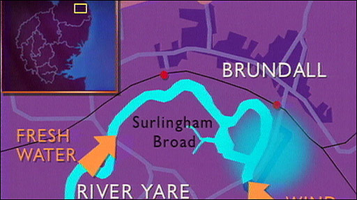 Map of Brundall flooding
