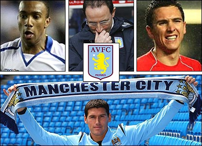 Clockwise from top left: Fabian Delph; manager Martin O'Neill; Stewart Downing; Gareth Barry signs for Man CitY