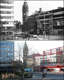 Barkers Pool in Sheffield, 1968 and 2009