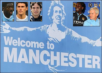 Man City's provocative welcome poster for Carlos Tevez, with (inset, left to right): Kolo Toure; Gareth Barry; Roque Santa Cruz; Emmanuel Adebayor with boss Mark Hughes