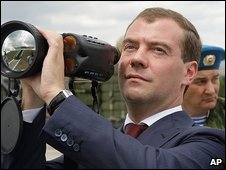 Russian President Dmitry Medvedev with a military scope
