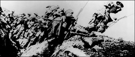 British troops going over the top on the first day of the Battle of the Somme