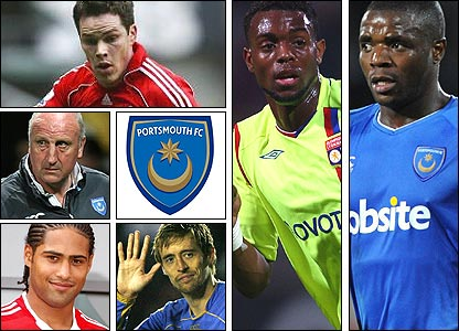 Clockwise from top left: Steve Finnan; Frederic Piquionne; Aaron Mokoena; the departed Peter Crouch and Glen Johnson; manager Paul Hart