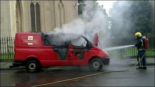 Royal Mail van on fire in Bristol