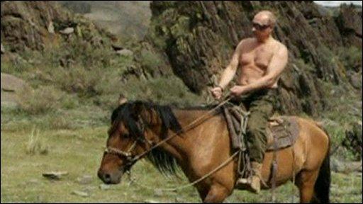 Vladimir Putin riding horse