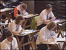Scholl pupils sitting an exam