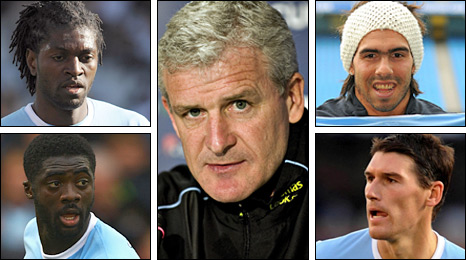 Clockwise from top left: Emmanuel Adebayor, Mark Hughes, Carlos Tevez, Gareth Barry and Kolo Toure