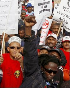 Municipal workers striking in Cape Town, 29/07