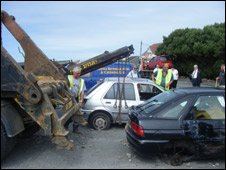 Abandoned cars being removed from Cobo car park
