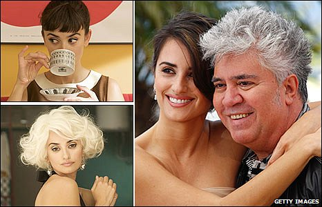 Penelope Cruz in Broken Embraces, and with Pedro Almodovar