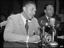 Budd Schulberg (left) testifying before the House Un-American Committee