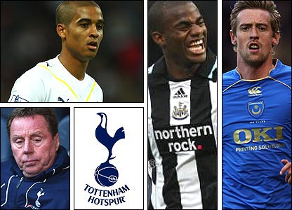 Clockwise from top left: Kyle Naughton; Sebastien Bassong; Peter Crouch; manager Harry Redknapp