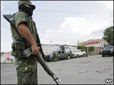 Soldier in Morelia, Michoacan