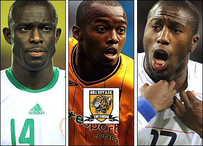 Left to right: Seji Olofinjana; Steven Mouyokolo; Jozy Altidore