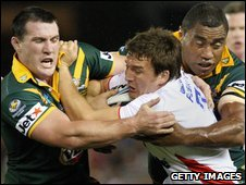 Martin Gleeson struggles against the Australia defence