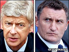 Arsene Wenger and Tony Mowbray