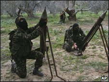 Palestinian militants prepare to fire weapons into Israel (file image)