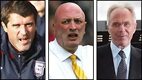 Ipswich boss Roy Keane (left), Norwich manager Bryan Gunn (centre) and Notts County director of football Sven-Goran Eriksson