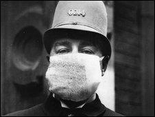 American policeman wearing mask