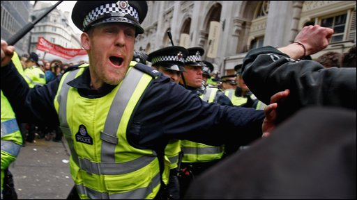 Police confront demonstrators during G20 protests near the Bank of England, April 1st 2009