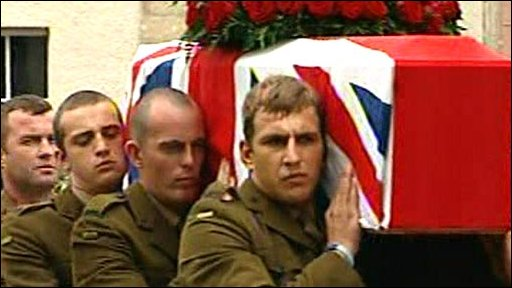 The coffin of Harry Patch is carried into Wells Cathedral
