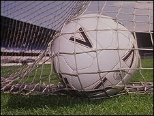 Football in a net