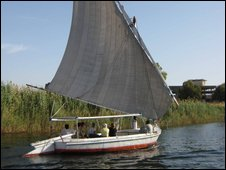 A traditional felucca on the Nile in Egypt