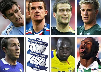 Clockwise from top left: Scott Dann; Barry Ferguson; Roger Johnson; Joe Hart; Christian Benitez; Giovanny Espinoza; Lee Bowyer