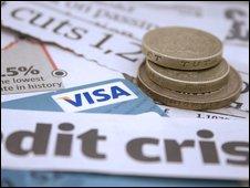 Credit card, cash