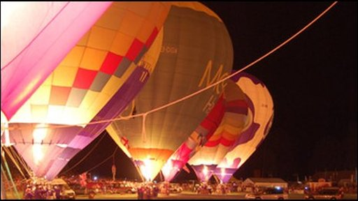 Balloons in night glow