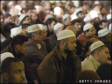 Muslims at prayers