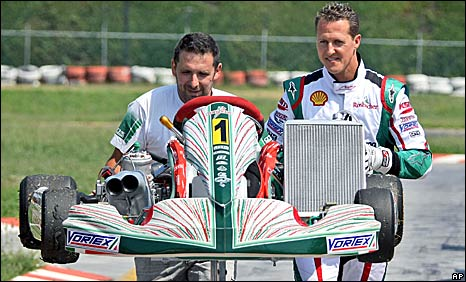 Michael Schumacher at a karting track in Italy on Thursday