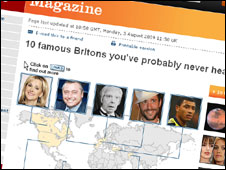 Magazine story on famous Britons